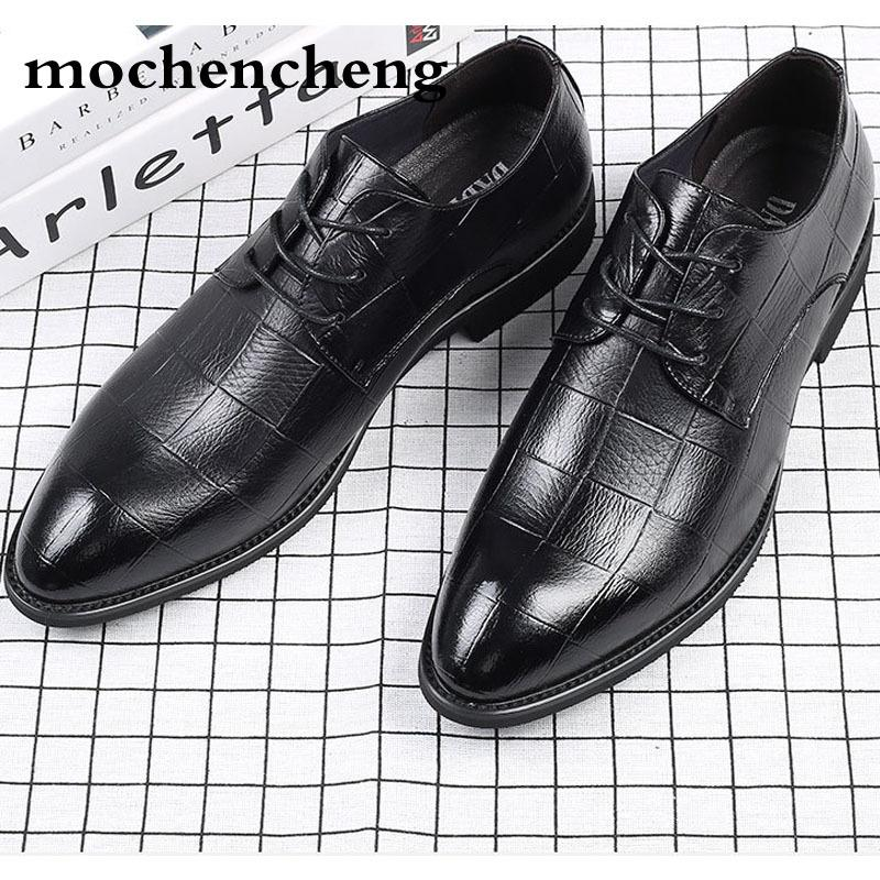 eb922840119d 2018 Genuine Leather Men Dress Shoes Italian Luxury Brand Shoes Male Lace  Up Pointed Toe Oxford Shoes Casual Wedding Formal Loafers For Women Deck  Shoes ...