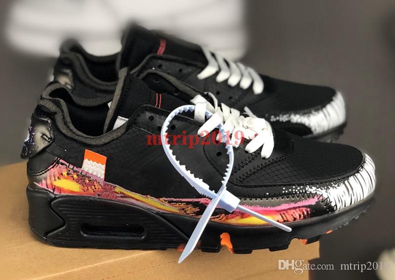 2019 Nouveau Off WHITE NIKE AIR MAX 90 V2 Tattoo Chaussures De Course Eye of Providence Noir Blanc Sport Trainer Sneakers Extérieur Jogging chaussure
