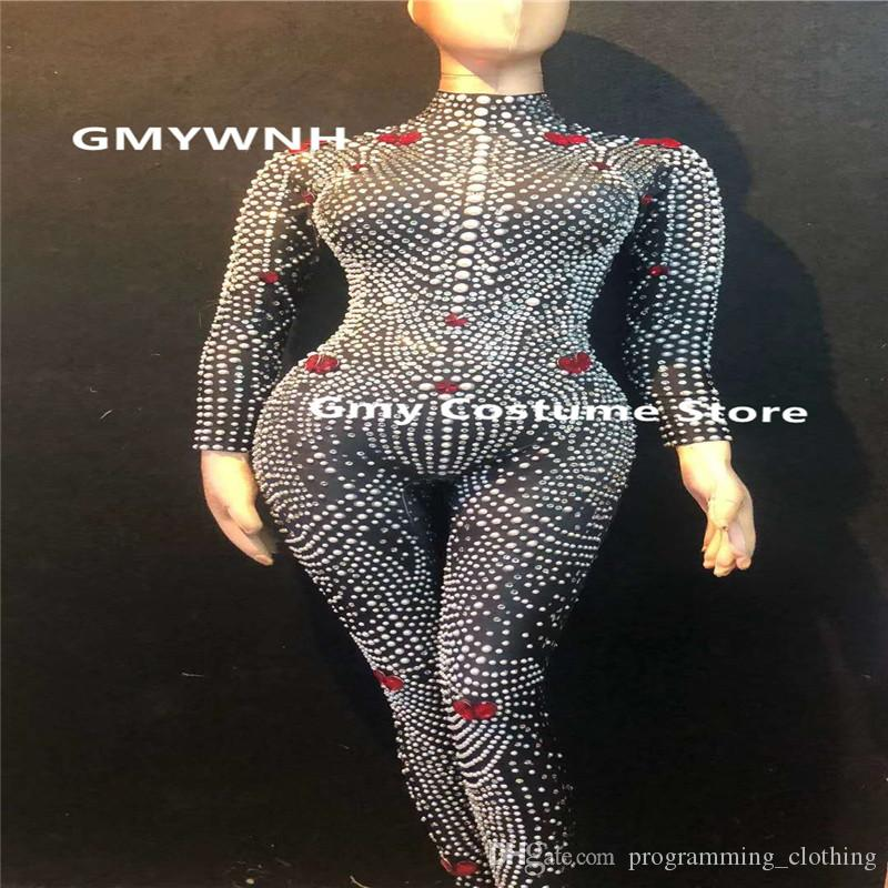 db5a1757a7262 2019 D05 Female Singer Stage Jumpsuit Pearl Rhinestone Stretch Slimming  Bodysuit Performance Women Outfits Club Clothe Dance Costumes Catwalk Ktv  From ...