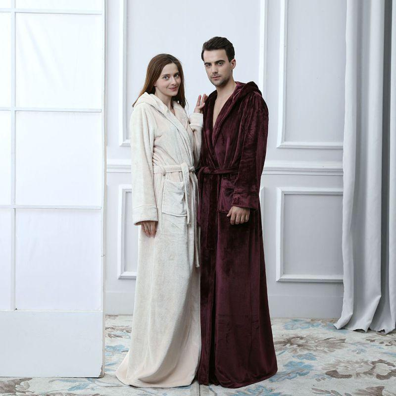 af71529cb2 Women Men Thick Warm Kimono Bath Robe Lovers Thermal Hooded Extra ...