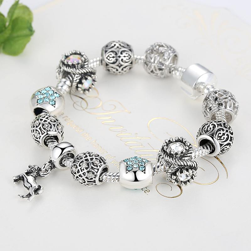 BELAWANG European Tibetan Silver Animal Horse Charm Bracelet With Crystal Beads Bracelets&Bangles for Women Jewelry Pulseira