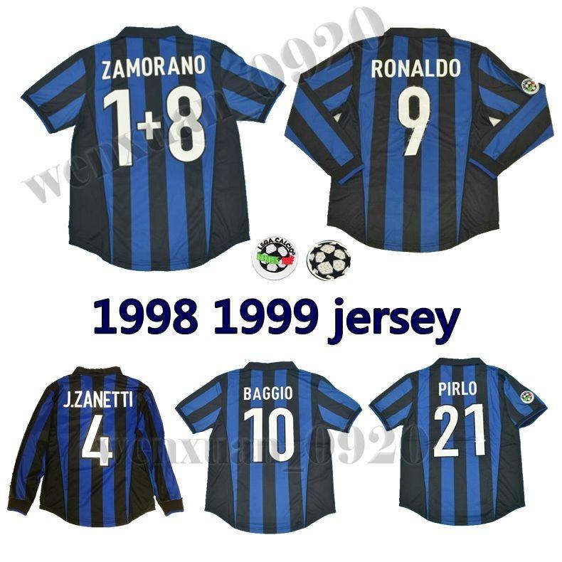 buy online cc675 748b9 1998 1999 inter retro soccer jerseys Ronaldo Recoba classic shirt Zamorano  Zanetti Baggio Simeone Sousa Kanu Bergomi Pilro vantage jersey