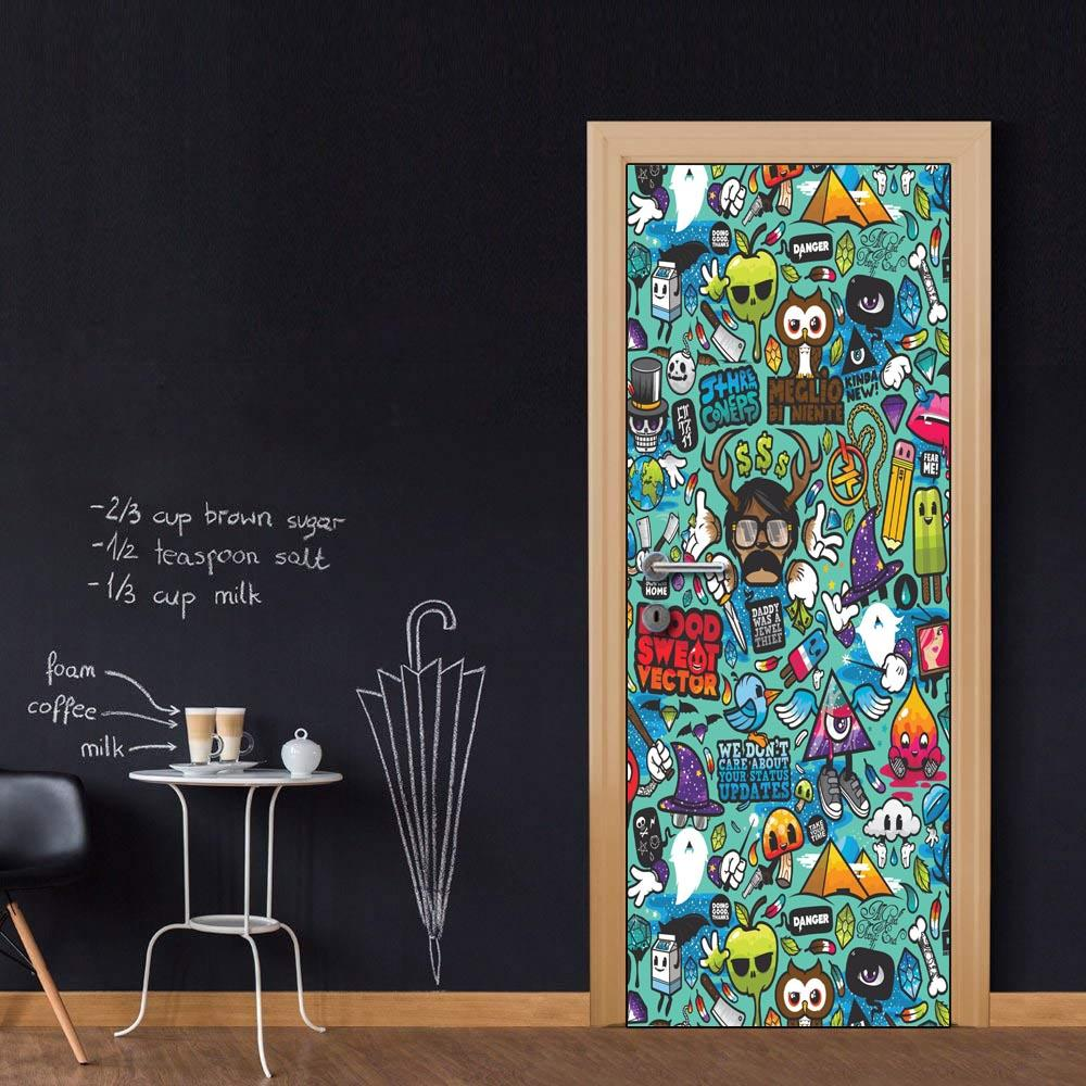 Door wall mural wallpaper stickers vinyl removable decals for home room decoration cartoon graffiti