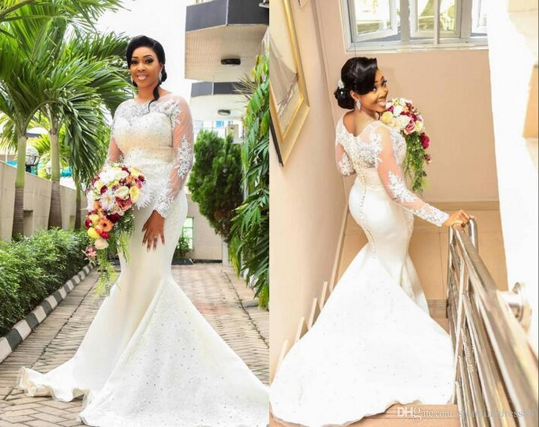 Elegant Spring Wedding Dresses Mermaid Plus size African Black Women Long  Sleeves Hollow Back Applique Beads Wedding Bridal Gowns Plus size