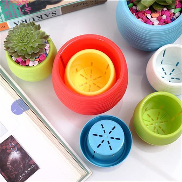 Plastic Flower Pot Succulent Plant Flower Pot For Home Office Desktop Decors Hot