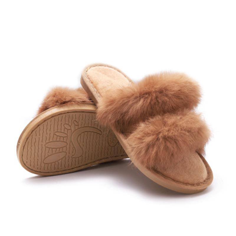 70f9cfe2eeda10 2018 New Explosion Models Ladies Slippers Autumn Real Rabbit Hair Female  Drag Trend Women Shoes Slides Ladies Platform Slippers Booties Mens Boots  From ...