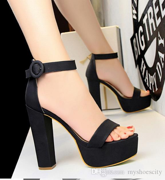 Plus size 34 to 40 41 42 43 Sexy designer sandals fashion women platfrm thick high heel shoes with buckle