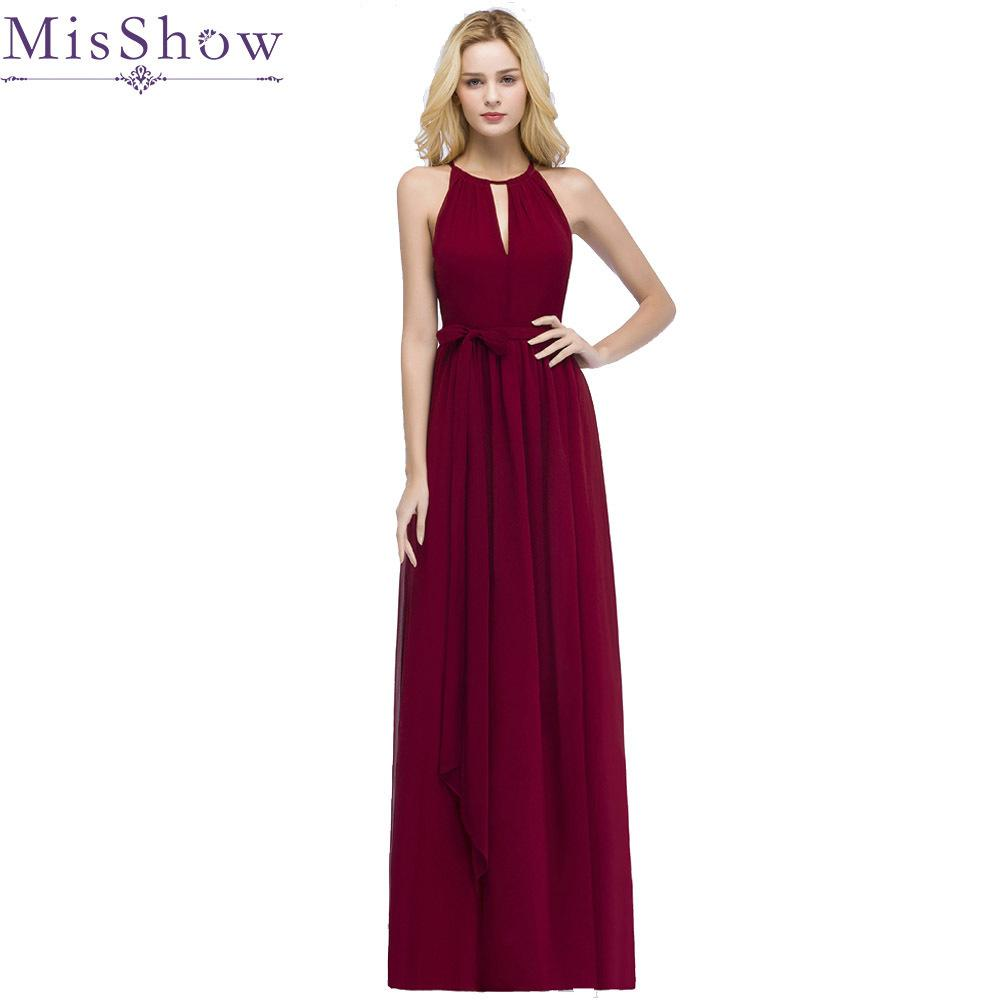 67493e4361 2019 In Stock Vestido De Festa Halter Hollow Out Front Chiffon Burgundy  Bridesmaid Dresses With Belt Cheap Dress For Wedding Party J190425 From  Tubi04, ...