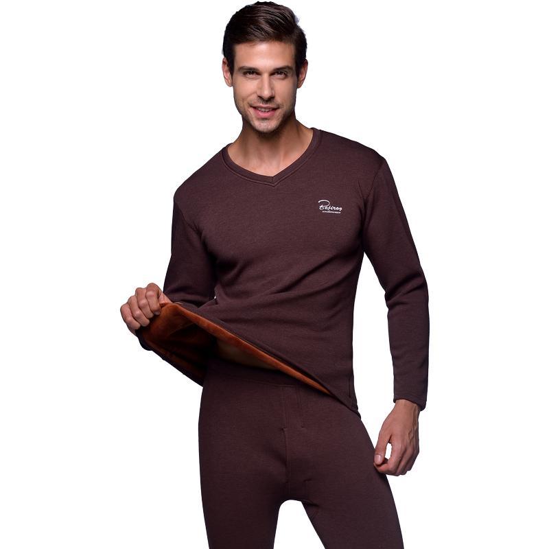 new concept d8c56 48e69 Winter warme herren lange unterhosen Dicke Thermo-unterwäsche Für männer  Solide V-ausschnitt Plus Samt Termo Kleidung Tops Pants Set Plus Größe