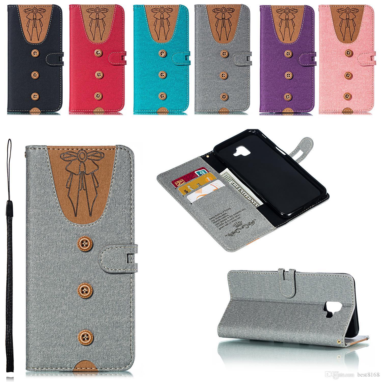 reputable site 7822a 046d1 Leather Wallet Case For Sony Xperia XZ3 Galaxy (A7 A750 A9 J4 Prime J6  Plus) 2018 Men s Cloth Women s Wear Flip Cover Coque Bowknot T Shirt
