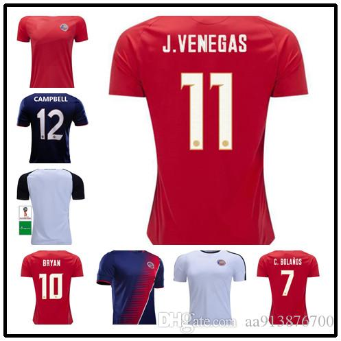 b9680c8db 2019 Top Costa Rica Jerseys 2018 19 World Cup M.UREÑA Costa Rica Soccer Jersey  Home Away G.González CAMPBELL WALLACE K.WASTON Football Shirt From ...