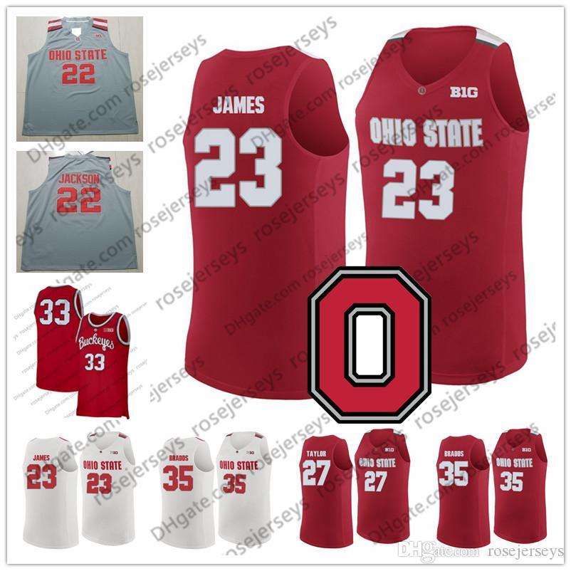 89c0d86e055 2019 NCAA Ohio State Buckeyes #23 James 5 Havlicek 27 Taylor 35 Bradds  LeBron John Fred Gary Retro College Basketball Red White Gray Jerseys From  ...