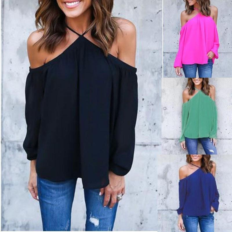 d1e4946085c 2019 Women Sexy Off Shoulder Blouse Halter Long Sleeve Chiffon Top Plus  Size Ladies Solid Causal Loose Chiffon Shirts Blusas From Jamie18, $24.46 |  DHgate.