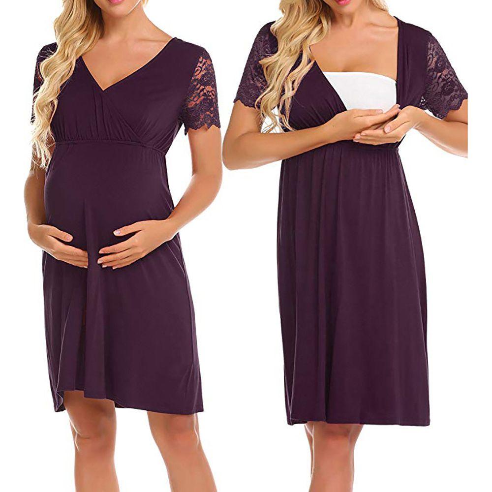 036717f3192 2019 Pregnant Dress Women Lace Splice Maternity Bodycon Dress Mama Casual  Wrap Dress Pregnant Women Feeding Nursing Clothes From Ebaby0964