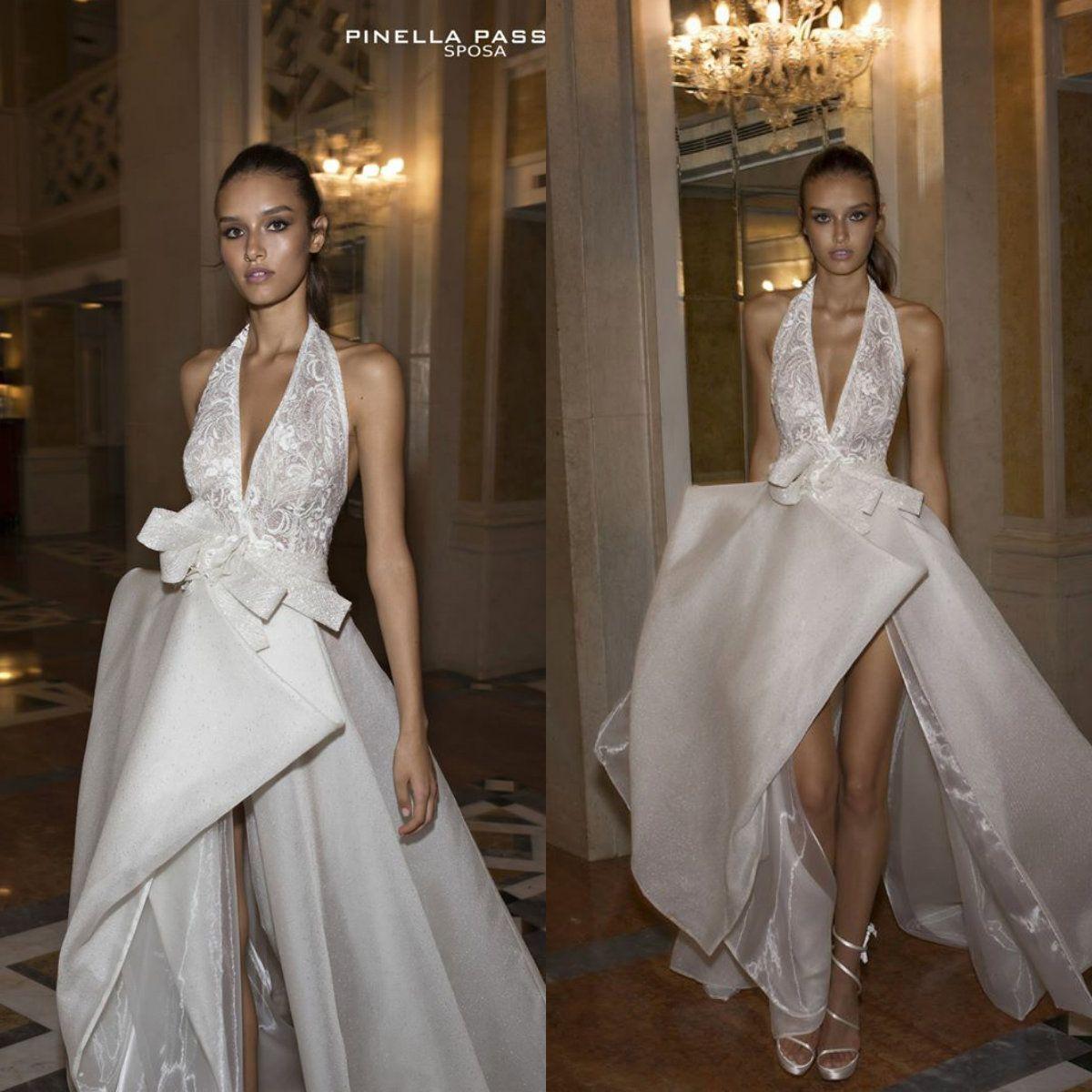 Wedding Dresses with Halter High Slit
