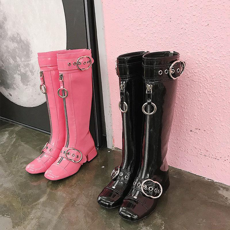Front Back Zip Long Women Boots Round Toe Chunky Heels Knee High Boots Pink Black Genuine Leather Shoes For Women Buckles