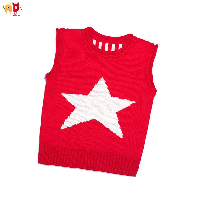 Good Quality Cute Star Pattern Baby Sweaters Vest Cotton Boys Girls