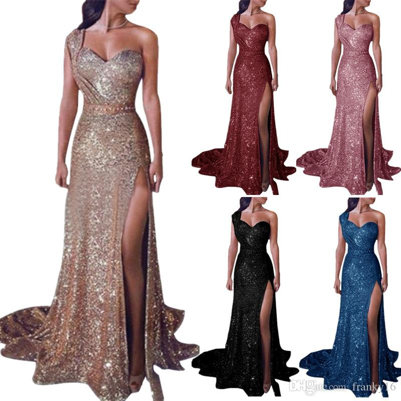 Plus Size S-5XL Women's Sexy Off One Shoulder Gold Stamp Dress Female Split Skirt Dress 6 Colors Long Maxi Party Dress