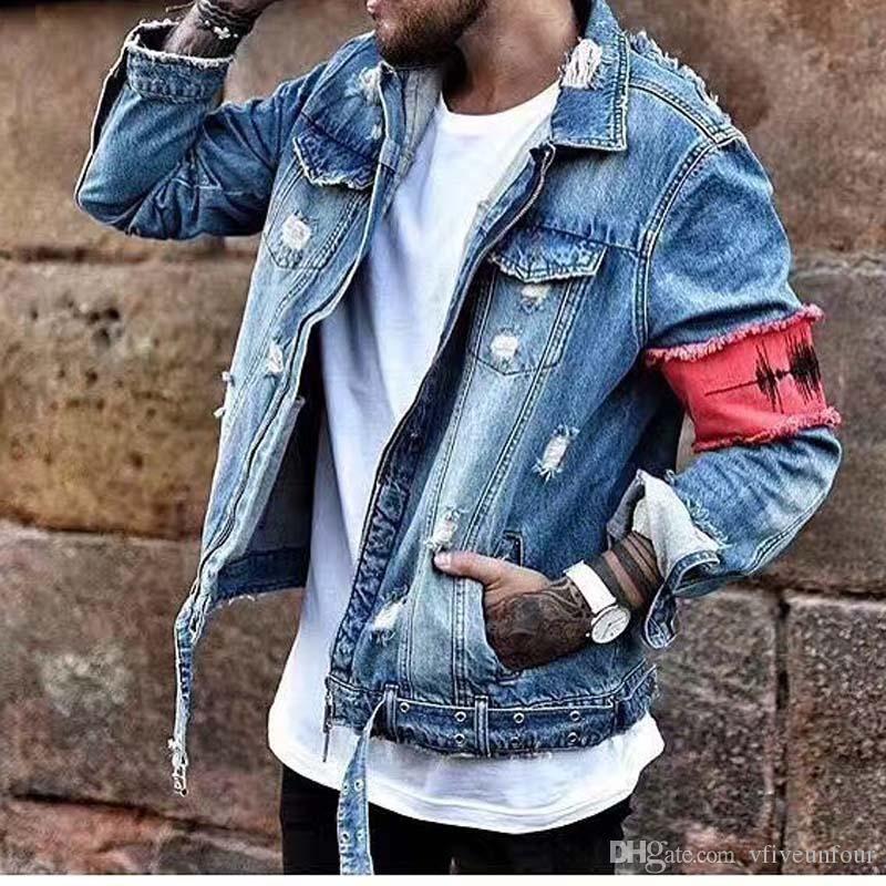 8c88447f48b Hot 2019 Autumn Hip Hop Fashion Vintage Emboridery Ripped Denim Jean  Jackets Men Fashion Casual Cotton Distressed Denim Jacket Streetwear Mens  Jackets ...