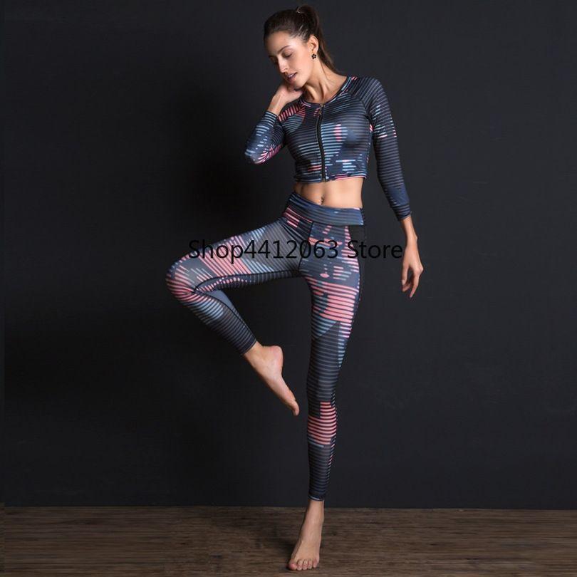 f7cab490ca7e 2019 2019 Female Sport Suit Print Fitness Suit Leggings Breathable Yoga Set  Zipper Sportswear Shirt Sport Pants For #180651 From Jersey_2019, ...
