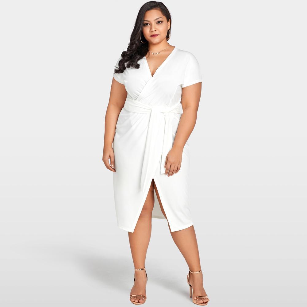 c5d681da912a 2019 Summer Fashion Wrap Dress Women Cross Over Tie Waist Female Dress V  Neck Short Sleeve Plus Size Party Club Midi Dress White Long Black Dresses  Cheap ...