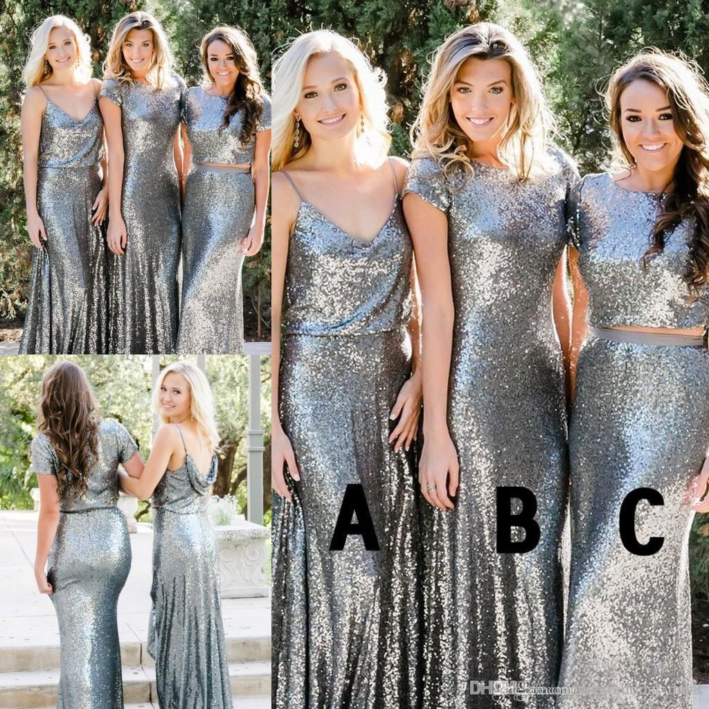 567334a9c75 Sequins Bridesmaid Dresses 2018 Newest Country Style Two Pieces Mix And  Match Bridesmaid Dress Custom Made Wedding Guest Party Gowns Print  Bridesmaid ...