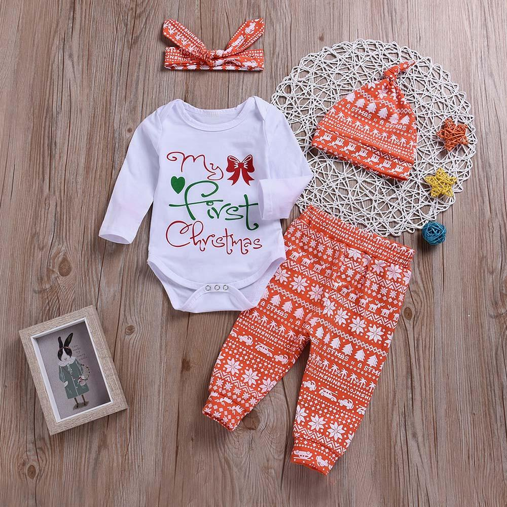 d2dc26e3c 2019 Good Quality Fashion Baby Clothes Christmas Clothing Set Letter Print  Romper+Pants+Hat+Headbands Kids Winter Clothes Roupas Infa From Yosicil02,  ...