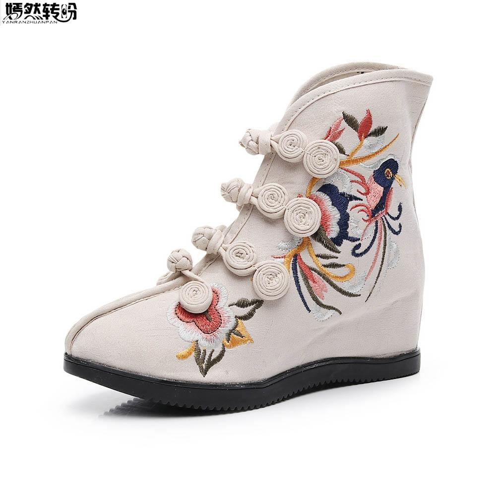 c1d3f7e64 Retro Bota Feminina Women Embroidery Shoes Ethnic Buckle Strap Ankle Boots  Ladies Vintage Cotton Fabric Wedge Shoes Scarpe Donna Knee High Boots  Riding ...