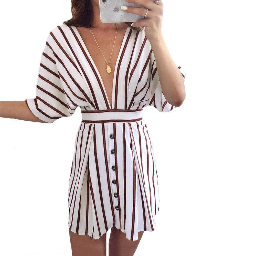 Vestidos Verano Fashion Women Party Dress Summer Striped Backless Lace Up  Dresses Sexy Deep V Neck Short Mini Dress With Sashes Boutique Dresses  Black And ... 5098f5312