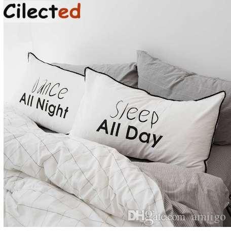 Großhandel Cilected Pom Kissenbezug Bettwäsche Für Paar Schwarz Weiß
