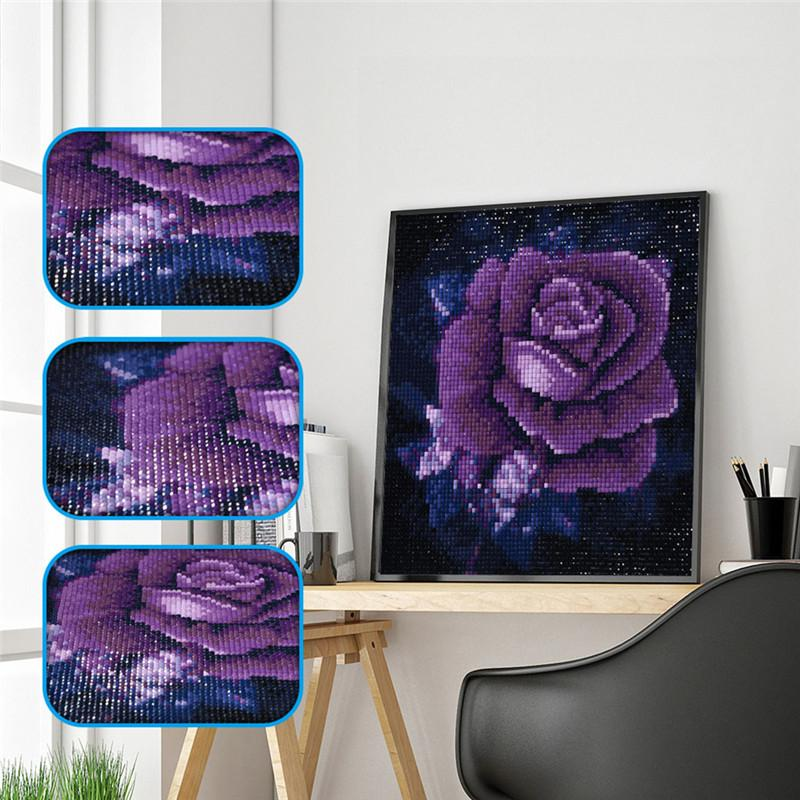 5D DIY Diamant Broderie Pourpre Rose Peinture De Diamant Pourpre Fleur Plein Carré Cristal Strass Home Decor No Frame 25 * 25 cm