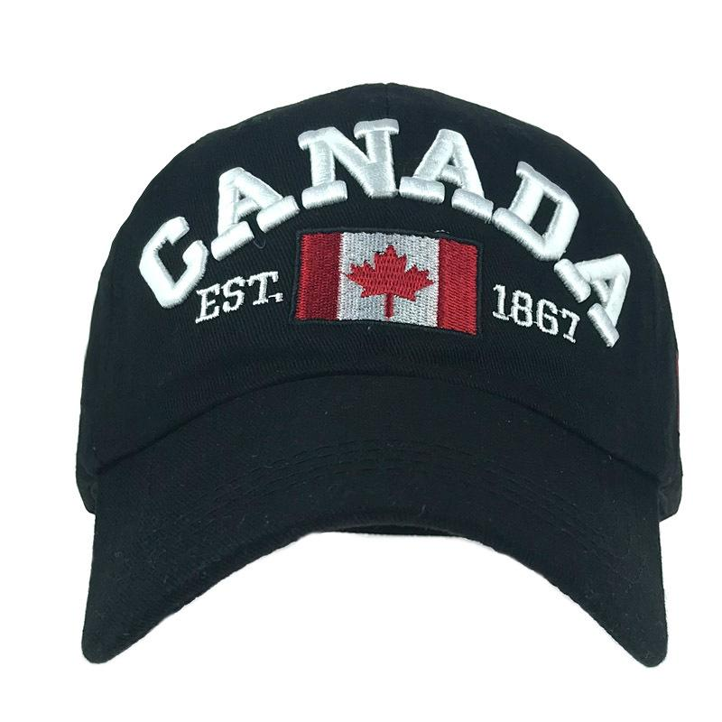 Cotton soft top embroidered letters baseball cap cloth Canada flag outdoor sun hat for men and women