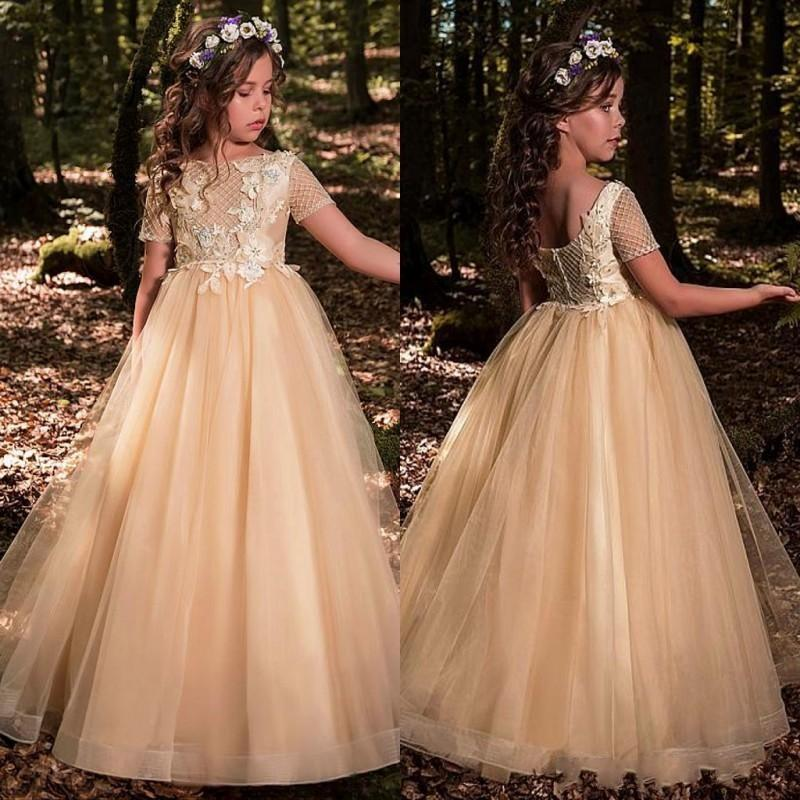 New Champagne Flower Girls Dresses For Weddings Jewel Neck Tulle Appliques Beads Little Kids Baby Gowns Custom First Communion Dresses