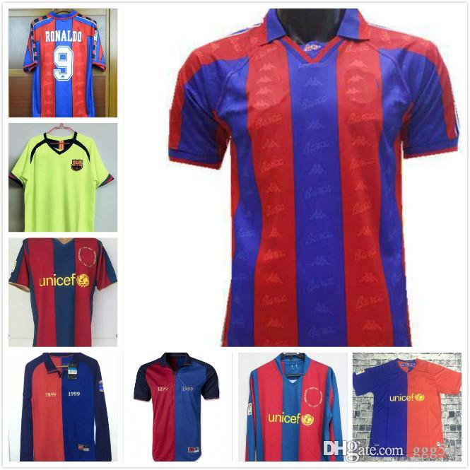 the latest 8ce53 32c2e La Liga 1996 1997 Ronaldo Guardiola Enrique Giovanni 2007 MESSI RONALDINHO  Retro Soccer jersey 96 97 07 Classic Retro football shirt