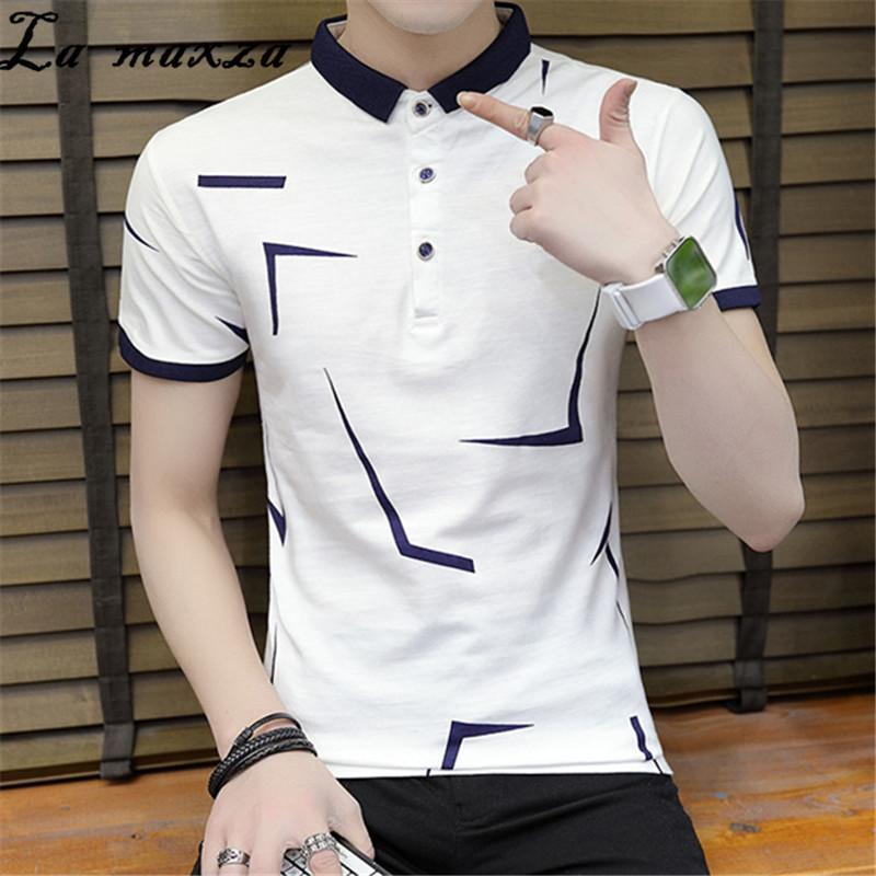 Korean Style Print Casual Streetwear Plus Size Shirt Short Sleeves Fashion Man Clothes Shirts