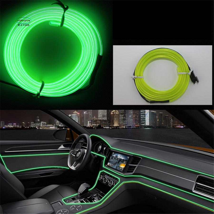 EL Wire Flash Rope Tube Cable LED Strip Flexible Neon Lamp Glow String Light For Car Decoration With Sewing Edge Car Styling