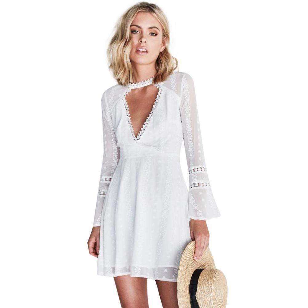 Acquista Abiti Bianchi Le Donne 2019 Solid Floral Lace Crochet Alta Chocker  Plunge Con Scollo A V Abito Corto Manica Corta Slim Elegante Abito A  37.14  Dal ... 5daaa3a0c5e