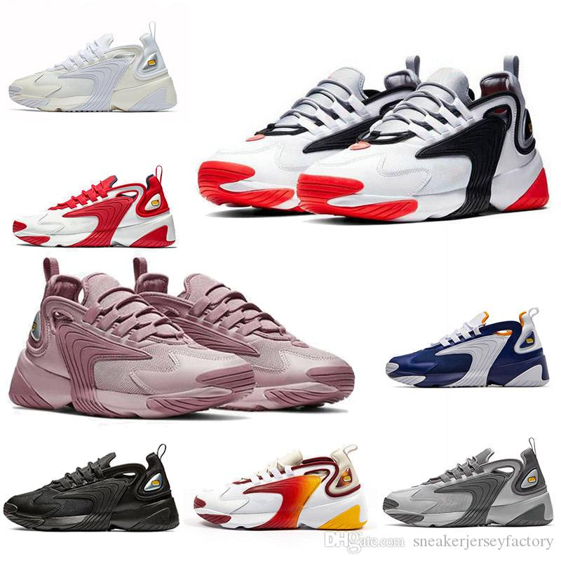 Nike M2k Tekno Nike Zoom 2K Men Outdoor Shoes 2000 Race Red Black Sail / White Orange Navy Sports Shoes Trainer para hombre Tamaño 36-45