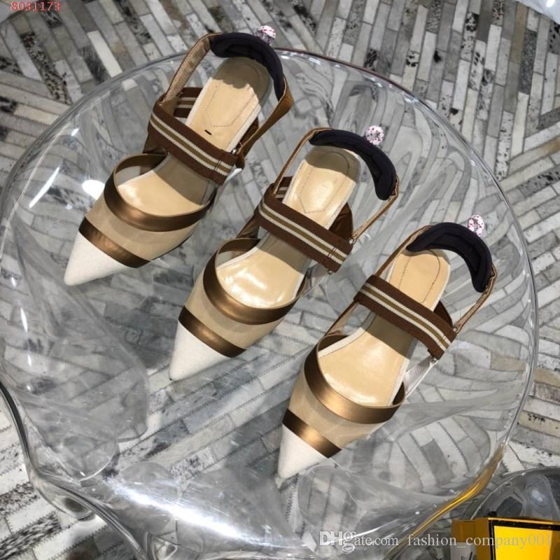 Mode Simples Nouvel Épissage Porter Chaussures Rouge Extérieur Talons Confortable Pied Rayé Hauts Féminine Sandales Été Sexy 2019 Des reQdCBxoW