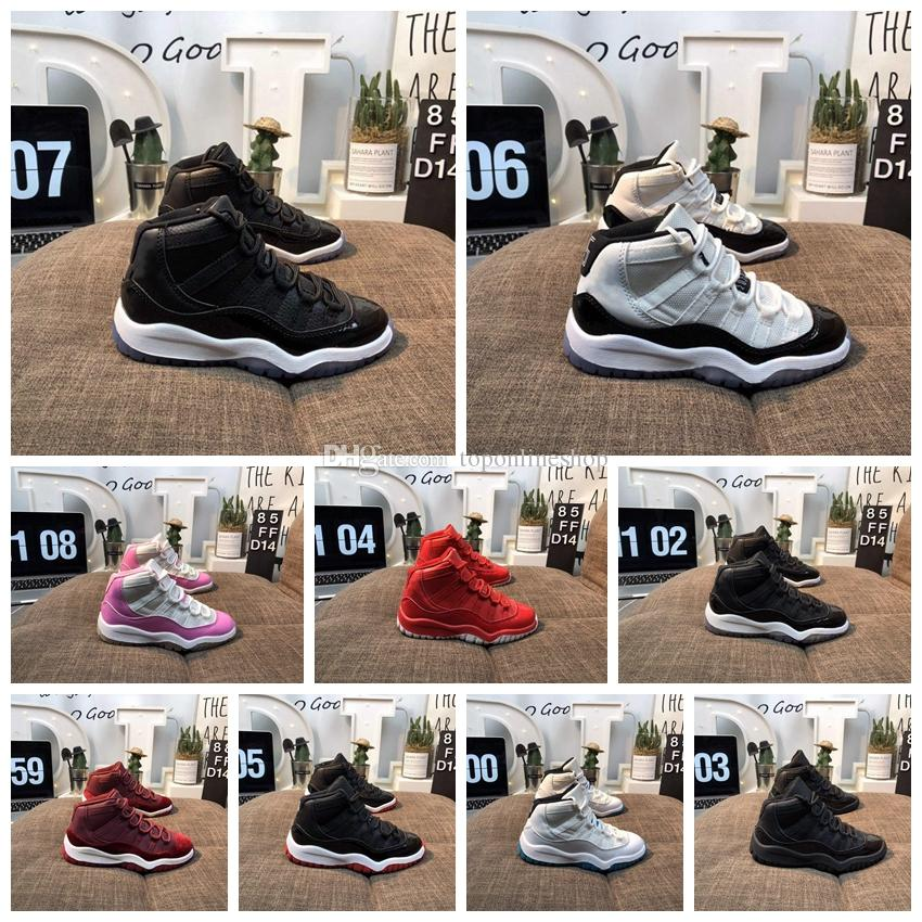new products c9fbc c1ee6 2019 Kids Shoes 11 11S Concord 45 Baby Little/Big Kids Basketball shoes  Bred Gamma Blue Legend Blue Youth Boys Girls Outdoor Athletic