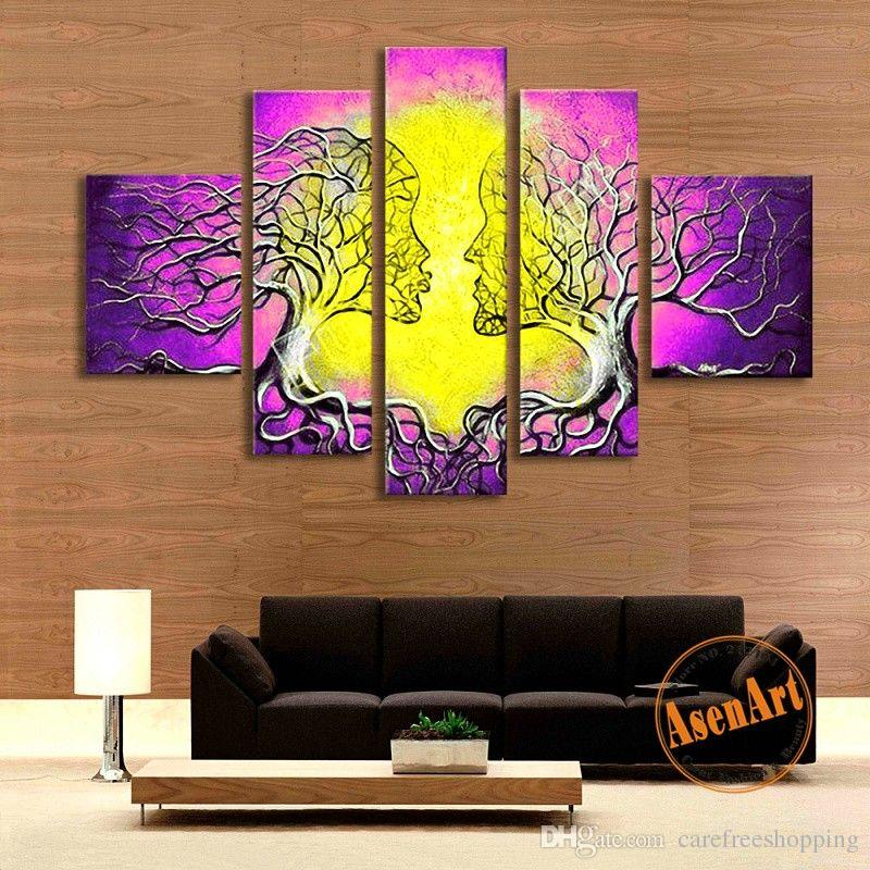 2019 Modern Abstract Handmade Purple Women Tree Oil Painting Canvas  Painting Wall Pictures For Living Room Home Decor No Frame From  Carefreeshopping 2952b9eb3