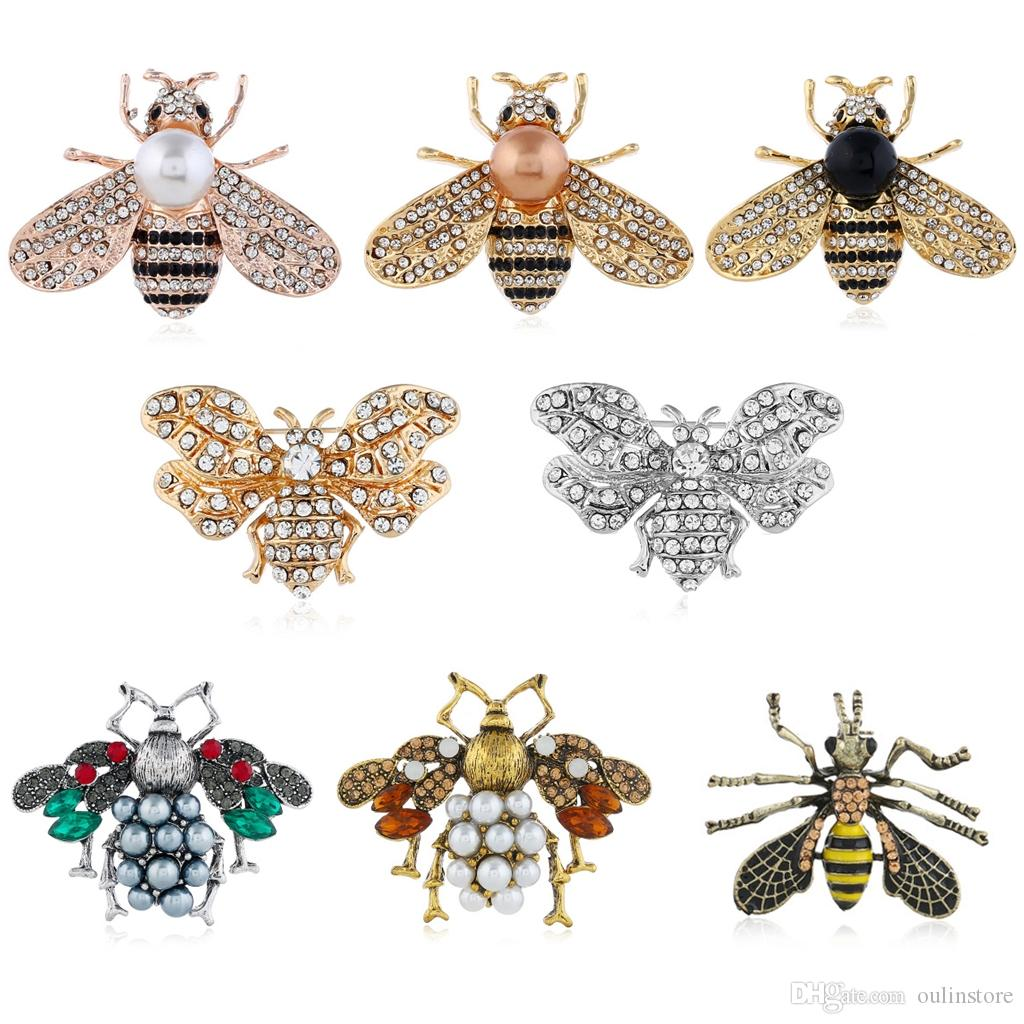 049661a44e372 Vintage Bee Brooch Pins Brooches Pearls Rhinestone Honeybee Insect Corsage  Fashion Jewelry Gift For Women Costume Decoration