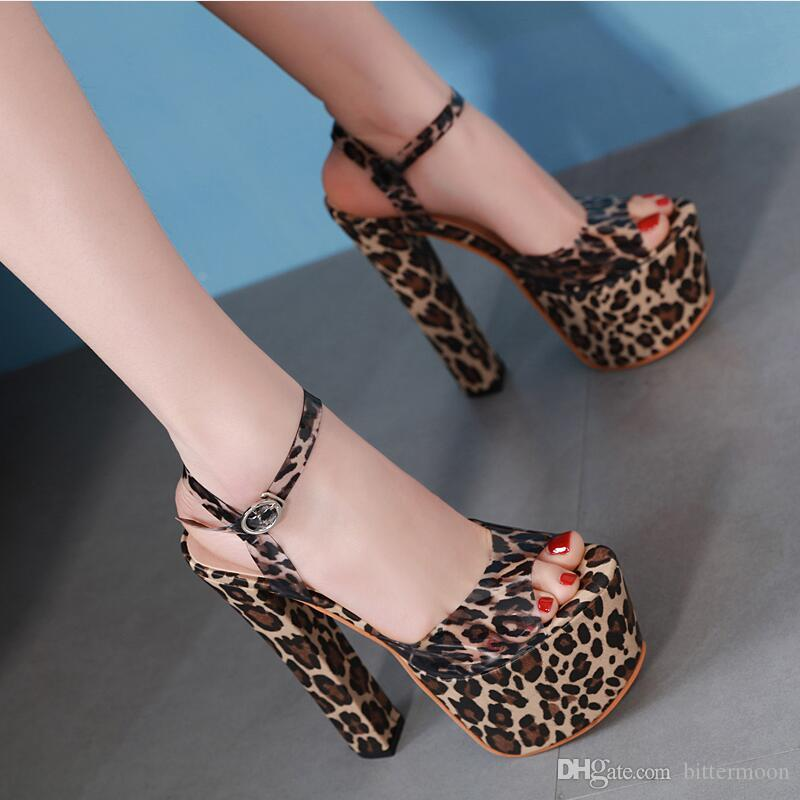 a54114a2c84 Free shipping 2019 New Sexy Transparent Leopard Women Sandals platform peep  toes Summer Heels Buckle High heeled Shoes chunky heel 17cm