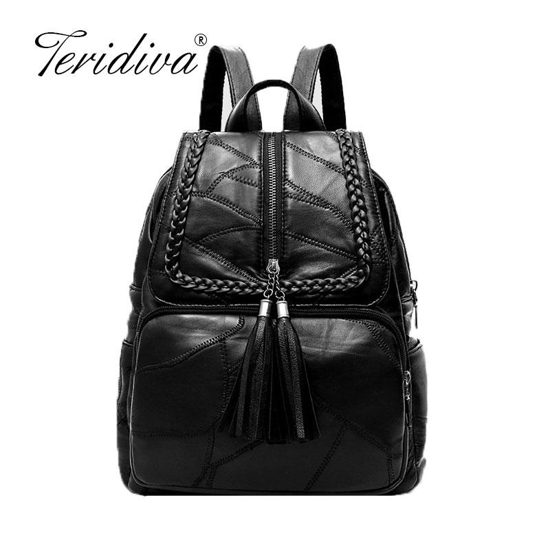28dea17c5c 2019 New Fashion Genuine Leather Women Backpack Soft Patchwork Leather  Sheepskin Tassel Backpacks For Girl School Bag Brand Backpacking Backpacks  ...
