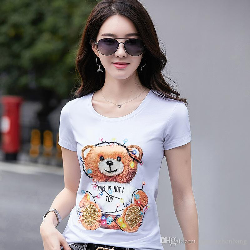 New 2019 Summer Classic Luxury Pooh Bear Cartoon Printed Beading Designer T-Shirt Women's Ladies Cotton Round Neck Tshirt Tops Tees Shirts