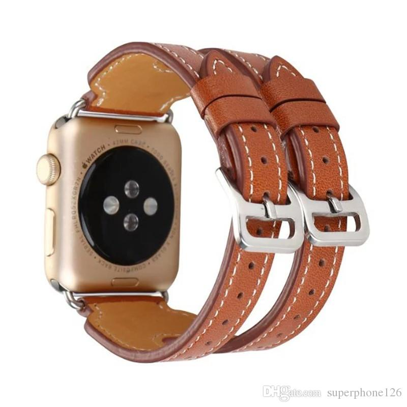 for Apple Watch Strap Popular Double Buckle Sport Casual Breathable for iwatch Band High-quality Leather for Iwatch Wristband with 38mm 42mm