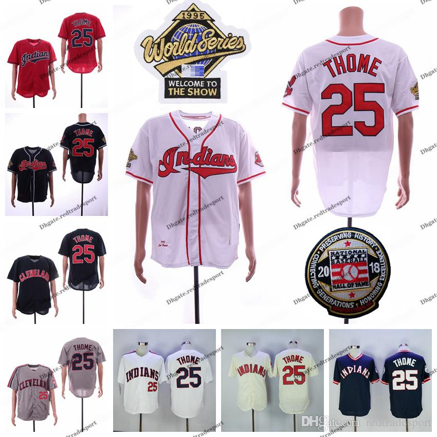 wholesale dealer 93b8c 3d063 Vintage Indians Jim Thome Jersey 2018 Hall Of Fame Patch 1995 WS Cleveland  Baseball Jerseys Home Blue Red Cream Pullover All Stitched Shirts