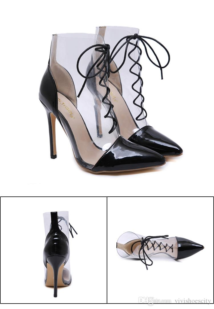 Chic black clear transparent patchwork lace up pointed toe high heel ankle bootie designer shoes size 35 to 40