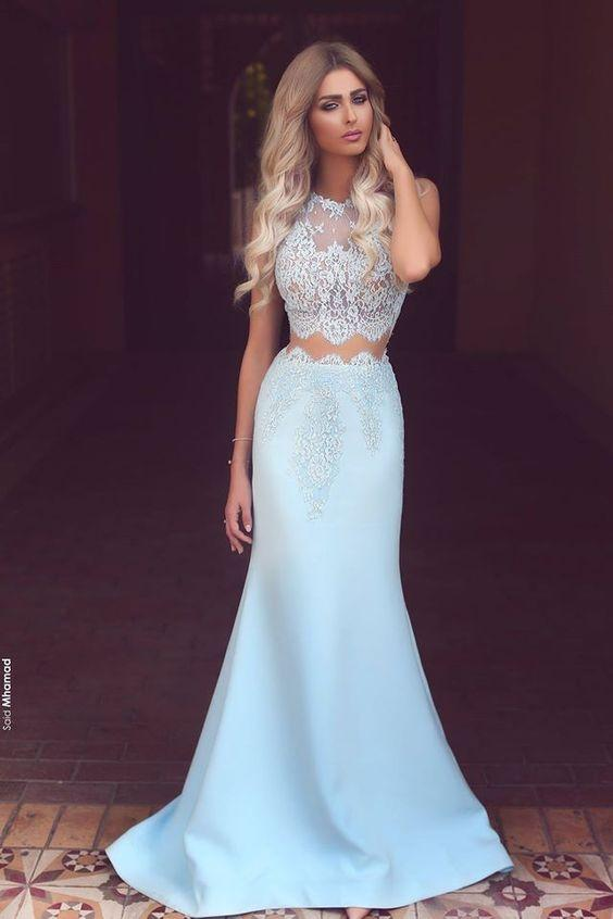 6eb182d0c8 Sexy Light Blue Two Pieces Prom Dresses Chiffon White Lace See Through Crew  Neck Mermaid Long Prom Dress Formal Party Gowns Cheap Modest Prom Dresses  Cheap ...
