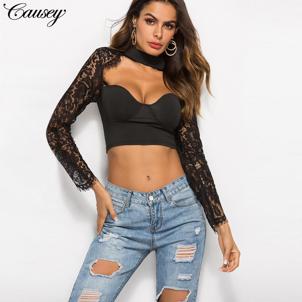 99143d85ec0391 Sexy hooked lace, low chest, long sleeve, umbilical cord, small high collar  and short jacket for quick sale of women's clothes